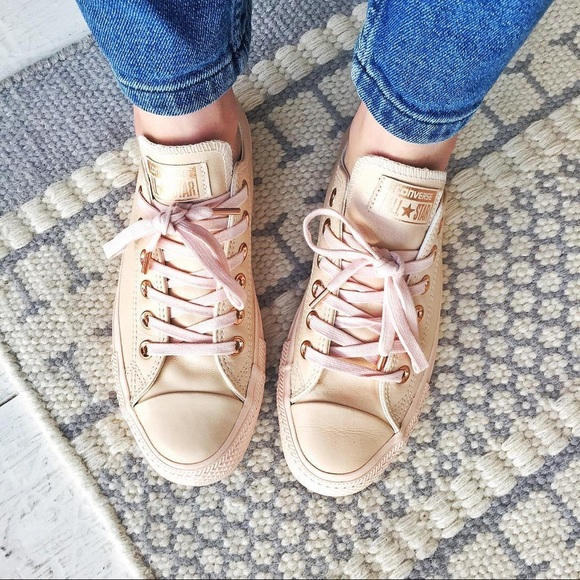 270b29daef8 Converse Nude Leather + Rose Gold Sneakers
